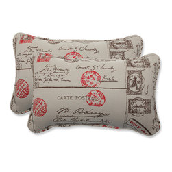 Pillow Perfect - Carte Postale Brown and Red Rectangular Throw Pillow with Bella-Dura Fabric, Set - - This set of rectangular throw pillows is covered in Bella-Dura fabric, which delivers the perfect union of worry-free performance, style, and a luxurious hand. One hundred percent solution-dyed, these Bella-Dura pillows are UV-resistant to retain color, inherently stain resistant, anti-microbial and mildew resistant, so you can enjoy them where you live, work, and play, indoors and out. Filled with a plush 100-percent polyester fiber filling, these pillows are as comfy as they are chic.  - Pillow Care and Cleaning: Most spills blot up with a cloth, but for tougher spills, a mild household cleaner or detergent and water will do the trick. Rinse thoroughly, blot with a soft cloth, and allow to air dry. When the pillows are not in use, it is best to store them covered in a dry place. Gently wipe dirt and debris off the surface of the pillows before it can become embedded in the fabric  - Pillows with outdoor 100-percent polyolefin Bella-Dura fabric - colors stay strong and vibrant  - Worry Free - resists water, mildew, stains, chlorine and fading; Suitable for indoor or outdoor use  - Set includes two pillows filled with a plush 100-percent polyester fiber  - Easy to clean - use mild soap and water, rinse, and air dry. Bleach cleanable for mildew or tougher stains  - 5-Year Fabric Limited Warranty - withstands years of normal exposure to sun and rain  - Made in USA Pillow Perfect - 549064