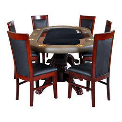 BBO Poker Tables - BBO Poker The Premier Premium 7-Piece Poker Table Set with 6 Dining Chairs - RED - A poker table that matches your style!