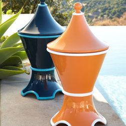 """Katharine Webster - Vesta Tagine Open Firepit - ORANGE - Katharine WebsterVesta Tagine Open FirepitDetailsEXCLUSIVELY OURS.Firepit with conical removable top inspired by the vessel used to cook and serve a traditional Moroccan stew.Handcrafted of polyester resin.Remove top when using as firepit.Works with most 9-oz. chafing fuel canisters (not included).Hand-painted finish; select color when ordering.Outdoor safe.For decorative use only.12""""Dia. x 23.5""""T.Imported.Boxed weight approximately 16.5 lbs. Please note that this item may require additional shipping charges."""