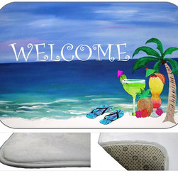 Tropical Drinks Welcome , 30X20 - Bath mats from my original art and designs. Super soft plush fabric with a non skid backing. Eco friendly water base dyes that will not fade or alter the texture of the fabric. Washable 100 % polyester and mold resistant. Great for the bath room or anywhere in the home. At 1/2 inch thick our mats are softer and more plush than the typical comfort mats.Your toes will love you.