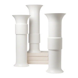 Studio A - High Collar Vase - Matte White - The large scale of the Collar Vases magnifies their elegant classic silhouettes. The collar appears in three positions. Choose High, Mid or Low. Made of fine Portuguese ceramic. Each sold separately.