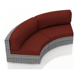 Harmonia Living - Urbana Eclipse Wicker Curved Loveseat, Canvas Henna Cushions - Create the perfect outdoor gathering with the Urbana Eclipse Modern Outdoor Wicker Loveseat with Red Sunbrella Cushions (SKU HL-URBN-E-WS-CLS-HN), featuring a modern wicker design, clean curves and brushed aluminum feet. The Loveseat's curved seating is a great match for patios with fire pits or circular tables, allowing you to create a stylish outdoor lounge. The Loveseat includes cushions covered in Sunbrella fabric, the best in mildew- and fade-resistant outdoor fabrics. High-Density Polyethylene (HDPE) wicker infused with a Weathered Stone color and UV protection will not crack or fade with regular sun exposure. Underneath the wicker is a thick-gauged aluminum frame, providing incredible corrosion resistance and stability. Each Loveseat has additional reinforcements to prevent excessive wicker stretching after repeated use, another feature that keeps this Loveseat looking and performing great throughout the years.