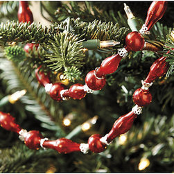 Ballard Designs - Suzanne Kasler Red Mercury Glass Garland - Lace through your holiday arrangements. Jewelry for your tree, mantel or chandelier. This shimmering mercury glass garland designed by Suzanne Kasler has all the romantic vintage look. Balls and elongated beads are joined with figured metal caps for an added layer of visual texture.Mercury Glass Garland features: .