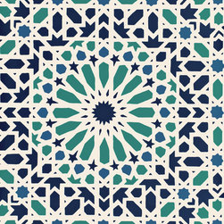 Nasrid Palace Mosaic - Don't you love mosaics? This wallpaper is inspired by mosaics and I can see it bringing so much energy into a room design.