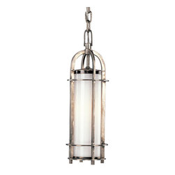 Hudson Valley - Portland One-Light Historic Nickel Mini Pendant - - We?ve adapted the classic coach lamp to create our Portland collection. Opal glass evenly diffuses glowing white light from within the lamps? clean-lined, cylindrical cages. Hook-and-eye hangers provide the authentic details that make our fixtures standout. Portland adds a hint of rustic charm to a style that carries contemporary allure  - Finial Shade Attachment  - Bulb is not included Hudson Valley - 8521-HN