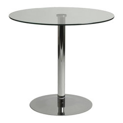 Euro Style - Alfa Round Table w Clear Glass Top - Tempered clear glass top. High polished chromed steel column and base. 1-Year manufacturer's warranty. 31.5 in. W x 31.5 in D x 28.5 in. H (57 lbs.)Grand ideas for small spaces, the smooth and clean geometric shapes give your rooms a trendy, up-to-date look. The furniture design make your rooms stylish and sophisticated, symbolizing your self confidence.