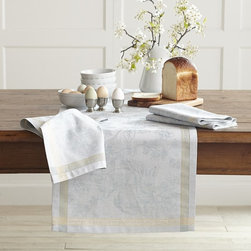 Easter Bunny Jacquard Table Runner, Blue - A table runner provides just enough decoration for a kids' table, and it's easy clean after the meal because you won't have to spend time doing endless spot treatment on stains.