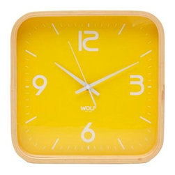"""Wolf Designs - 12"""" Square Wall Clock-Yellow - Our 12"""" Square Wall Clock proved to the world that wall clocks have not gone out of style. With its fresh, minimal and bold in design, this clock will delight your eyes every time you search for the time. This stark, contemporary design features a 12"""" yellow dial contrasted with white hands and sans-serif numbering is perfect for viewing from across the room."""