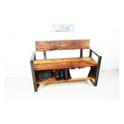 what WE make - reclaimed wood storage bench - Handmade in Chicago from local reclaimed wood, this gorgeous bench provides comfortable, attractive seating and storage in your entryway or hallway. Put shoes or baskets in the cubbies for convenient, attractive storage.