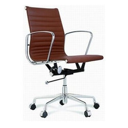 IFN Modern - Eames Style Aluminum Group Management Low Back Chair - Height adjustment with gas-liftFive star base with casters