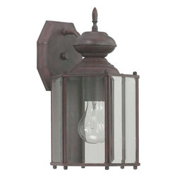 Joshua Marshal - One Light Cobblestone Clear Glass Wall Lantern - One Light Cobblestone Clear Glass Wall Lantern