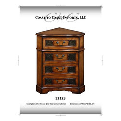 Coast To Coast - Medium Brown Corner Cabinet - 32123 - Brown Finish