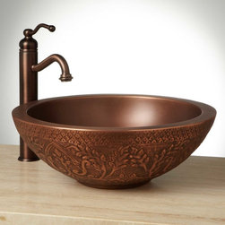 """18"""" Freeport Double-Wall Copper Vessel Sink - Leafy swirls and pretty arches adorn the 18"""" Freeport Vessel Sink, which is crafted of luminous copper and sure to be a bright point in your bathroom,"""