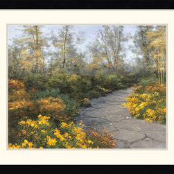 Amanti Art - Step into Autumn Framed Print by Diane Romanello - Artist Diane Romanello's landscapes are widely recognized for their \'romantic realism\'. This park scene combines stately architecture with a feathery touch to capture the rich, transitional season of autumn.