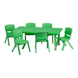 Flash Furniture - Flash Furniture 24 x 48 Adjustable Rectangular Green Plastic Activity Table Set - This table set is excellent for early childhood development. Primary colors make learning and play time exciting when several colors are arranged in the classroom. The durable table features a plastic top with steel welding underneath along with height adjustable legs. The chair has been properly designed to fit young children to develop proper sitting habits that will last a lifetime. [YU-YCX-0013-2-RECT-TBL-GREEN-E-GG]  Kids Table (1), Chair (6)