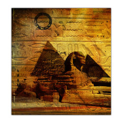 """READY2HANGART.COM - Ready2hangart Alexis Bueno 'Egyptian Pyramid' Canvas Wall Art - Artist Alexis Bueno, takes you through the various Wonders of the World with his series One World. The abstract rendition in canvas art is offered as part of a limited """"""""Home Decor"""""""" line."""