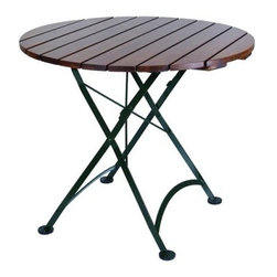 Furniture Designhouse Round European Cafe Folding Table - 32 in. - With an oil-treated African teak and gage steel construction- the Furniture Designhouse Round European Cafe Folding Table - 32 in. is suitable for indoor as well as outdoor use. Its frame has a 100% polyester baked, anti-UV powder coat that does not crack, blister or peel. Suitable for year-round use, this cafe table is sturdy and durable and has a friendly fold-flat design for easy storage. Slightly oversized covers on the legs provide stability and protection.