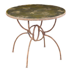 Orb Iron Base Table with Mirrored Top - Rustic but sophisticated with a complex and unexpected leg design, this round iron occasional table is weighty and consequential - but its arching spider legs confer an airiness that makes it exquisite. Its dark weathered patina is the perfect finish to the round tabletop, and the slight effect of rust makes the legs, which come together in a double ring forming an elegant open globe, seem appealingly aged. An instant grace note to any room, the Orb Table joins an unusual material with industrially refined lines.