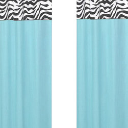 Sweet Jojo Designs - Blue Zebra Window Panels (Set of 2) - The Blue Zebra window curtain panel set (2 panels) will help complete the look of your Sweet Jojo Designs room. These window treatments instantly change the look and feel of any room, adding layers of warmth and style. Each of the 2 panels measures 42in. x 54in.