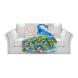 DiaNoche Designs - Throw Blanket Fleece - Luminous Peacock II - Original Artwork printed to an ultra soft fleece Blanket for a unique look and feel of your living room couch or bedroom space.  DiaNoche Designs uses images from artists all over the world to create Illuminated art, Canvas Art, Sheets, Pillows, Duvets, Blankets and many other items that you can print to.  Every purchase supports an artist!