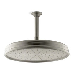 "Kohler - Kohler K-13694-BN Vibrant Brushed Nickel Rainhead Rainhead 12"" - Traditional 12"" round rain showerhead The new KOHLER Rainhead collection delivers the most comprehensive offering of rain showerheads available in the market today, providing an affordable and scalable showering solution that coordinates designs and finishes with the rest of the KOHLER faucets and accessories.  Elegant traditional styling creates the perfect complement to any period inspired custom shower installation Superior spray performance with Katalyst Spray Technology delivers a luxurious and drenching  rain  experience Optimized sprayface design creates a denser uniform spray pattern for consistent coverage and feeling of warmth MasterClean sprayface with translucent nozzles resists mineral buildup and ensures reliable performance for years to come 2.5 gallons per minute flow rate Solid brass construction ensures durability and reliability Comprehensive Finish Offering compliments KOHLER s complete faucet and accessory program"