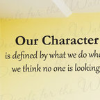 Decals for the Wall - Wall Decal Sticker Quote Vinyl Art Lettering Letter Character is What We Do J94 - This decal says ''Our character is what we do when we think no one is looking.''