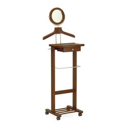 Winsome Wood - Valet Stand Rack w Casters, Mirror & Drawer - The Valet Stand Rack with Casters, Mirror & Drawer will have you good to go each and every morning! Displaying a rich Walnut finish, this solidly constructed rolling stand offers welcome convenience features like a handy accessories drawer and tilting mirror. * Mirror and Drawer. Casters. Antique Walnut finish. 19.84 in. W x 15.45 in. D x 56.24 in. H