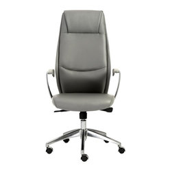 Euro Style - 24.75 in. High Back Office Chair - Includes hardware. Durable and easy-to-clean leatherette seat and back over foam. Soft leatherette armrests. BIFMA approved. Casters wont mark or scratch hardwood floors. Tilt mechanism locks in multiple position. Laminated wood frame. Leatherette padded armrests. Synchronous mechanism with four locking positions with gas lift. Aluminum base. Casters with stainless steel hoods. Warranty: One year. Gray color. Seat height: 17.5 in. to 20.5 in.. Overall: 26.75 in. W x 24.75 in. D x 48.75 in. H. Assembly Instructions