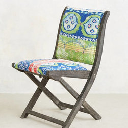 Suzani Terai Folding Chair, Blue - I love the fabric on these chairs, and they would look so eclectic around a wooden farmhouse table. And the fact that they fold makes them winners!