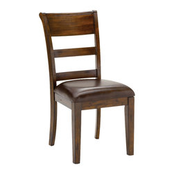 Hillsdale Furniture - Hillsdale Park Avenue Dining Chair (Set of 2) in Dark Cherry - Sturdy and stylish the Hillsdale Park Avenue dining set is a fabulous addition to your home. The ample sized trestle style dining table comfortably seats 6-10, perfect for those with large families or who like to entertain. The chairs are reminiscent of traditional ladder back style with a hint of transitional design in the wide top slat and easy to care for brown faux leather seat. Last but not least the distressed dark cherry finish adds warmth to this handsome dining group. Some assembly required.