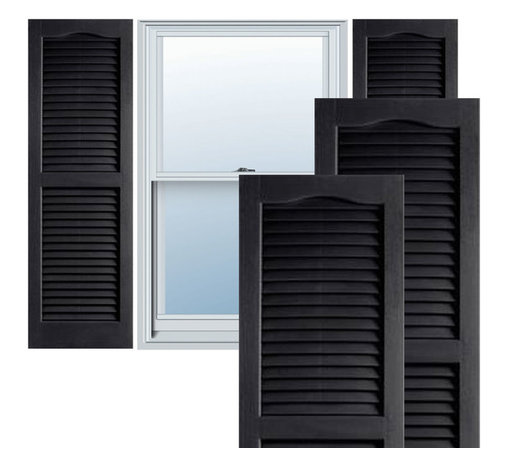 "Alpha Systems LLC - 14"" x 35"" Builders Choice Vinyl Open Louver Shutters,w/Screws, Black - Our Builders Choice Vinyl Shutters are the perfect choice for inexpensively updating your home. With a solid wood look, wide color selection, and incomparable performance, exterior vinyl shutters are an ideal way to add beauty and charm to any home exterior. Everything is included with your vinyl shutter shipment. Color matching shutter screws and a beautiful new set of vinyl shutters."