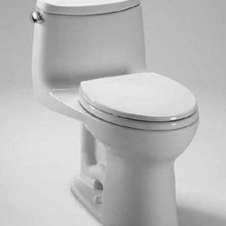 """Toto - Toto MS604114CEFRG#01 Cotton Ultramax II Ultramax II One Piece - Ultramax II(tm) Toilet with SanaGloss The TOTO Ultramax II Toilet features the Double Cyclone flushing system. Using two powerful nozzles, the Double Cyclone(tm) flushing system creates a forceful centrifugal action that cleans the rim and bowl thoroughly with every flush. The rim has no holes, which makes it easier to clean and offers a seamless appearance.  Right-Hand trip lever Double Cyclone flushing system, low consumption (1.28GPF/4.8LPF) SanaGloss ceramic glaze - SanaGloss glaze prevents debris and mold from sticking to ceramic surfaces, leading to fewer chemicals and less water in cleaning Universal Height Decorative one-piece design with high-profile tank Elongated front bowl with SoftClose seat (SS114) 12"""" rough in Chrome trip Lever"""