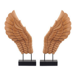 Brilliant Imports - Decor Wings, Natural, Small - Wings that even the birds will envy, hand-carved out of hardy suar wood. A signature piece designed and made exclusively for Brilliant Imports. This pair of small wings is coffee-colored on a bronze-painted wooden museum base.  Available in a larger size as well as on a different (black) base.  Sold as a pair.