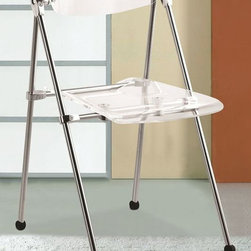 Fine Mod Imports - Transparent Folding Chair - Set of 2 - Set of 2. Contemporary style. See-through seat and back. Chrome-finished legs. Warranty: One years. Made from thick molded acrylics. No assembly required. 19 in. W x 19 in. D x 30 in. H (10 lbs.)