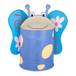 Large Kids Pop-Up Hamper - Butterfly - Honey-Can-Do HMP-02059 Blossom the Butterfly Animal Clothes Hamper, Light Blue.  Go ahead, feed the animals! Make laundry day fun for the whole family with this adorable, pop-up animal hamper. This friendly flyer loves to snack on socks, clothes, and pajamas and hides them away neatly at the end of the day. The easy open and close lid keeps dirty laundry out of sight. Great for teaching kids cleaning and organization skills without any fuss. The dual purpose hamper works equally as nice for storing your child's prized (and often overflowing) stuffed animal collection.