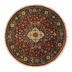 Vegetable Dyes 5'X5' Round Wool & Silk Kashan Revival 300 Kpsi Area Rug SH6083 - This collection consists of fine knotted rugs.  The knots per square inch means more material in the rug as well as more labor.  This leads to a finer rug and a more expoensive rug.  Classical and traditional persian motifs are usually used as designs in these rugs.