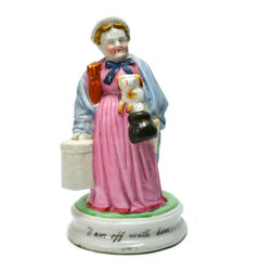 Lavish Shoestring - Consigned Porcelain Match Striker Figure of a Lady Traveller w/ Her Dog, English - This is a vintage one-of-a-kind item.