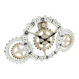 Zeckos - Industrial Gears Wood and Metal Steampunk Style Wall Clock - Like a mechanical fantasy, this awesome stylized Steampunk gear clock commands attention Bold numerals, large ornate hands, and multi-sized gears working in sync to create this fashionably industrial clock that boasts a befitting distressed museum white finish. It's amazing as a focal point anywhere in your home or office at 22.75 inches (58 cm) long, 19.5 inches (50 cm) wide, and 2.5 inches (6 cm) deep. The quartz movement requires just one AA battery (not included), and it easily mounts to the wall using the attached keyhole hanger on the back. Give the gift of time with this Steampunk inspired wall clock sure to be admired