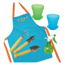 """Sassafras - Deluxe Gardener In Training Kit - This 7pc set includes: Embroidered gardening apron, 3 wood & metal garden tools, 2 plastic flower pots, and a spray bottle. Apron is 100% Cotton. Box Measures: 10""""L x 5""""W x 8""""H Apron Measures: 18""""W x 24""""H"""