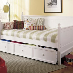 Leggett/Platt Fashion Bed - Twin Size Wood Daybed In White Finish w Trundle - Add casual elegance to your child's room with this lovely creamy white four poster paneled day bed. A pull out trundle below is fronted by three faux drawer panels with center pulls, perfect for extra storage or an additional overnight guest when a twin mattress is added. In White finish. Made of China Birch & MDF/ Veneer. 81 /12 in. W x 41 5/8 in. L x 46 in. HLike a blank canvas ready for the artist's touch, the Casey daybed is the perfect base from which to build a room. Easily adaptable to a number of styles, this daybed can go from country casual to sleepover central in the blink of an eyelet coverlet. The sturdy solid wood construction, head board back and arms, ball finials and Antique White finish make this impressive piece of wooden craftsmanship that's as practical as it is impressive. The roll out drawer can accommodate a twin size mattress for a sleepover guest or be used as extra storage