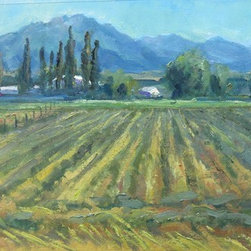 Windrows And Poplars (Original) by Russell Ricks - This is a plein air painted on location sketch. What attracted me was the repetition of lines in the windrows of hay and the trees. Repetition with variation helps unify an artpiece as a whole.