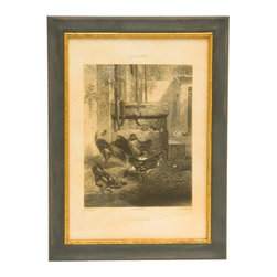Framed Vintage Chickens Print - These hand crafted, antique reproduction prints are perfect to fill that space around larger prints and collectibles hung on the wall, or displayed on an easel in the bath or guest room.