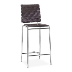 Zuo Modern - Criss Cross Counter Chair Espresso (Set of 2) - With three height choices, the Criss Cross works in any decor setting, modern or transitional. It has leatherette back straps and a flat seat with a chrome steel tube frame.