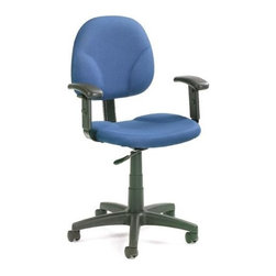 BOSS Chair - Task Chair In Blue Fabric w Contoured Back, A - Equipped with adjustable arm rests, wide, contoured seat and contoured back rest, this simple chair packs a punch into its no-frills design. Wrapped in soft, blue fabric, Diamond task chair exudes casual style and practical design, that can be integrated into your decor, whether at home, in your study or a college dorm. Contoured back and seat provides support and helps relieve back strain. Extra large seat and back cushions. Pneumatic gas lift seat height adjustment. Adjustable arms 4 standard fabric colors. Cushion color: Blue. Base/wood: Black. Seat size: 19.5 in. W x 18 in. D. Seat height: 17 in. -22 in. H. Arm height: 24 in. -32 in. H. Overall dimension: 25 in. W x 25 in. D x 32-40 in. H. Weight capacity: 250 lbs
