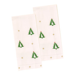The Designs of Distinction - Holiday Guest Towels - Set of 2, Tree - These 100% Cotton guest -towels have a hemstitched bottom and are carefully hand embroidered in small fair trade villages. They have holiday motifs. Sold in sets of 2.