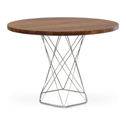 """Palecek - Stockholm Round Dining Table - The Stockholm dining table introduces geometric refinment to the mod interior. Beneath a round hardwood topits open stainless steel base forms boldcontemporary shapes. 42"""" Dia x 30""""H; Plantation hardwood top finished in antique brown"""