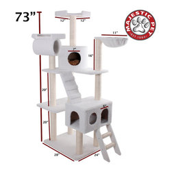 "Majestic Pet - 73"" Bungalow Sherpa Cat Tree - Features: -Covered in elegant Faux Sheepskin with Sisal Rope wrapped posts that will withstand the toughest claws.-Features two residences, a ladder, a ramp, a nest, two perches and a dangly mouse.-Assembles in minutes with simple step by step instructions and tools provided.-Cleans easily with a vacuum and damp cloth.-Also available in Faux Fur.-Distressed: No.-Country of Manufacture: United States.Dimensions: -Overall Dimensions: 73'' H x 36'' W x 38'' D.-Overall Height - Top to Bottom: 73.-Overall Width - Side to Side: 73.-Overall Depth - Front to Back: 38.-Overall Product Weight: 84 lbs."