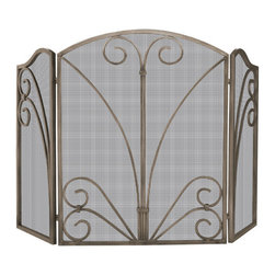 Uniflame - Uniflame S-1662 3 Fold Venetian Bronze Screen w/ Decorative Scrollwork - 3 Fold Venetian Bronze Screen w/ Decorative Scrollwork belongs to Fireplace Accessories Collection by Uniflame
