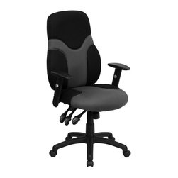 Flash Furniture - High Back Mesh Ergonomic Task Chair - Padded back and seat. Height adjustable back. Back angle adjustment. Height adjustable polyurethane padded arms. Pneumatic seat height adjustment. Heavy-duty black nylon base. Gray and black mesh upholstery. Dual wheel carpet casters. Seat tilt adjustment. Tilt tension control. Multi-function 3-paddle control mechanism. Warranty: 2 years limited. Assembly required. Back: 21 in. W x 25.5 - 27.25 in. H. Seat: 21.5 in. W x 19 in. D. Seat Height: 19.5 - 22.5 in.. Arm Height from Floor: 25.75 - 32.75 in.. Arm Height from Seat: 6.75 - 9.5 in.. Overall: 27 in. W x 23.75 in. D x 43.25 - 49 in. H (46 lbs.)