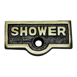 """Renovators Supply - Switchplate Tags Antique Brass 1 11/16"""" W SHOWER - Forget which switch is for what? Try our ID switchplate tags and identify your switches. Our switchplate ID tags are made from SOLID CAST BRASS and come with a TARNISH-RESISTANT ANTIQUE BRASS finish. EASY installation and fits standard switchplates. Coordinating screw included. Measures 13/16 in. H x 1 11/16 in. W"""